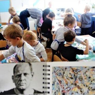 Action Painting z Jacksonem Pollockiem- warsztaty, Zabierzów 2018-foto